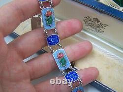 Gorgeous Vintage Solid Sterling Silver Guilloche Enamel Rose Bracelet 7.5 Rare