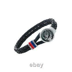 Grateful Dead Sterling Silver, Blue and Red Enamel & Leather Bracelet Size 8.5