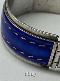 Gucci Vintage 1970s Blue Enamel Sterling Silver Hinged Buckle Bracelet
