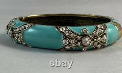 HEIDI DAUS Newport Chic II Crystal & Enamel Bangle Bracelet Turquoise Lg