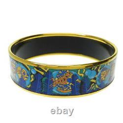 HERMES Bracelet Bangle Enamel Email Blue Black Fish Gold authentic