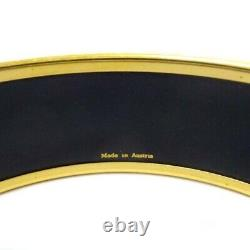 HERMES Bracelet Bangle Enamel Email GM Bird Motif Blue Gold authentic