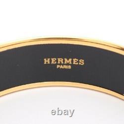 HERMES Bracelet Bangle Enamel Email GM Blue Multi Color Gold authentic