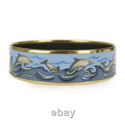HERMES Bracelet Bangle Enamel Email GM Dolphin Blue Gold authentic