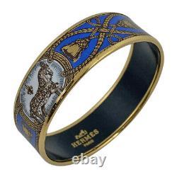 HERMES Bracelet Bangle Enamel Email GM Horse Blue Gold GP authentic