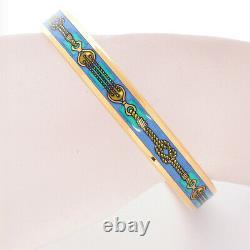 HERMES Bracelet Bangle Enamel Email PM Rope Blue Gold GP authentic