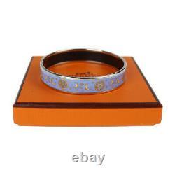 HERMES Bracelet Bangle Enamel Email PM Star Moon Motif Blue Silver authentic