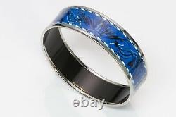 HERMES Brazil Palladium Plated Blue Enamel Bangle Bracelet