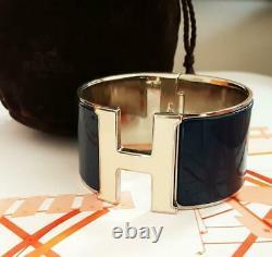 HERMES Clic Clac BLUE WHITE Cuff Bangle GM Silver Palladium Enamel Bracelet EC