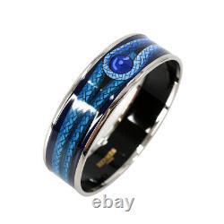 HERMES Email GM Enamel Bracelet Bangle Blue Accessories 90108261