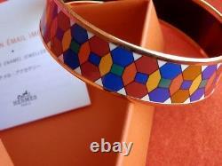 HERMES Gold Tone Vibrant Multi-Color Bangle Bracelet GORGEOUS
