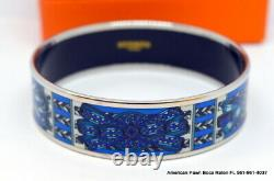 HERMES PRINTED ENAMEL BLUE WIDE BRACELET SIZE 70mm 100% AUTHENTIC WITH BOX