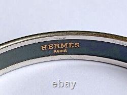 HERMÈS Palladium-plated Hermès Narrow Printed Enamel Bangle Stamped
