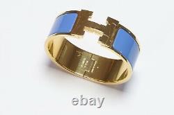 HERMES Paris Wide Gold Plated Blue Enamel H Clic Clac Bangle Bracelet PM