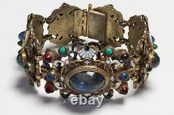 HOBE Wide Green Red Blue Cabochon Glass White Enamel Renaissance Style Bracelet