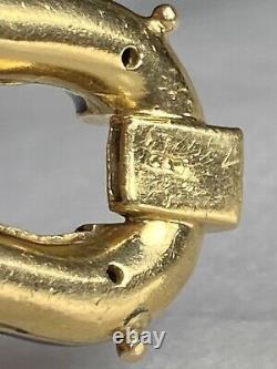 HUGE 18K Yellow Gold Diamond Cobalt Blue Enamel Vintage Mega Link Bracelet 8.25