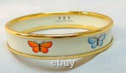 Halcyon Days England Enameled Blue Red Yellow Purple Butterfly Bangle Bracelet