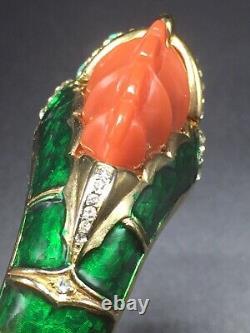 Hattie Carnegie Vintage Gold Plated Green Enamel Blue Red Resin Dragon Bracelet