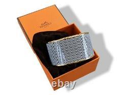 Hermes 121 Enamel CHEVRON XL GHW Bangle Bracelet Sz 070, BNIB