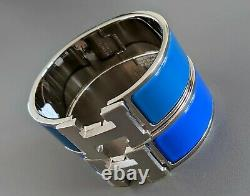 Hermes 76 Cobalt Blue Enamel & AG CLIC CLAC H Wide Bangle Bracelet Sz PM BNIB