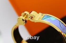 Hermes Blue Enamel Brides De Gala Bangle Bracelet+Gift receipt- Used once