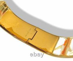 Hermes Blue Enamel/Gold Horses Clic Clac Bangle Bracelet Sz S, Box