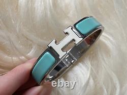 Hermes Clic Clac H Narrow Enamel Cream Pale Pastel Blue Silver Bracelet PM
