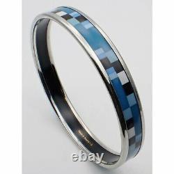 Hermes Emile Enamel Bangle Bracelet Blue Diameter 6cm pre-owned withBox