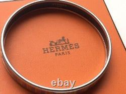 Hermes Striped Sz L Enamel Bracelet Carioca Silver Tone Palladium Narrow # 1692