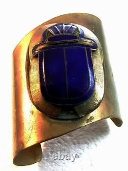 Huge 1880 1930 Egyptian Revival Brass & Blue Enamel Scarab Cuff Bracelet