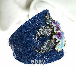 Italian Natural Stingray 925 Silver Enamel Orchid Flower Bracelet Bangle Cuff