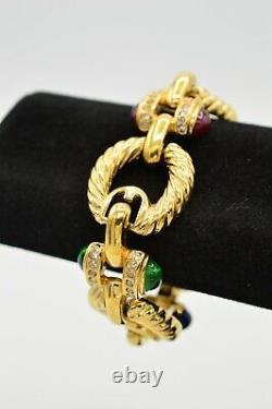 Joan Rivers Signed Vintage Bracelet Cabochon Gripoix Green Blue Red Gold Bin4