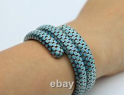 John Hardy Blue Enamel Silver Dot Double Row Coil Bracelet in Turquoise Color 6
