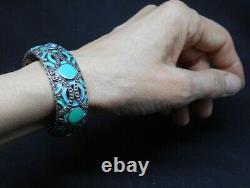 John Hardy Sterling (925) enamel kick cuff bracelet with blue topaz Palu Bulan