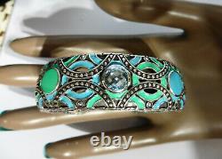 John Hardy Turq/Blue Enamel Cuff Bracelet Sterling 925