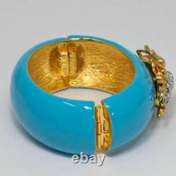 KJL Kenneth Jay Lane Turquoise Enamel Scarab Motif Bangle Cuff Bracelet