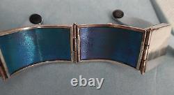Kel Horton 1987 Rare Sterling & 14kt Bracelet W, Blue Enamel & Stone Signed