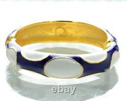 Kenneth J Lane KJL Blue & White Enamel Cuff Bracelet