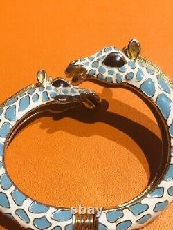 Kenneth Jay Lane KJL Blue White Enamel Giraffe Bangle Bracelet
