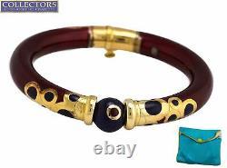 La Nouvelle Bague 18K Yellow Gold Sterling Burgundy Blue Enamel Bangle Bracelet