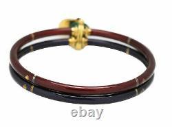 La Nouvelle Bague 925 18K 750 Yellow Gold Burgundy/Blue Enamel Bangle Bracelet