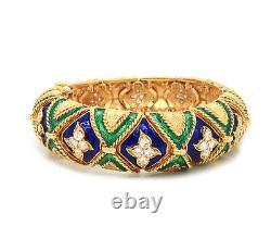 La Triomphe Vintage Diamond Green and Blue Enamel Bangle Bracelet in 18K
