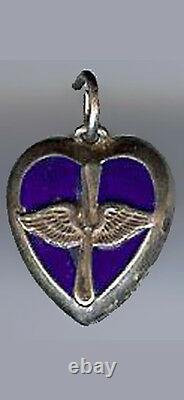 Lampl Vintage Sterling Blue Enamel Us Air Force Propellor Puffy Heart Charm