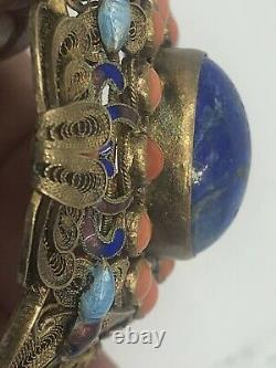 Large Antique Lapis Coral Chinese Silver Filigree Blue Enamel Butterfly Bracelet
