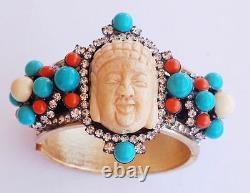 Larry Lawrence VRBA enamel Turquoise coral bone buddha head Cuff Bracelet enamel