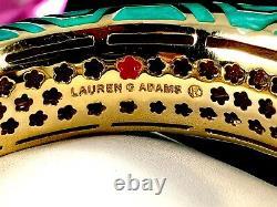 Lauren G. Adams 18k Gp Turquoise Blue Enamel Chunky Town Cuff Bangle Bracelet