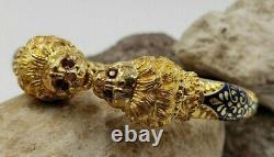 Lion Heads Cuff Bracelet with Rubies Blue Enamel In 18KT Yellow Gold VINTAGE
