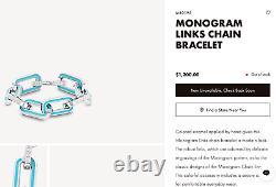 Louis Vuitton Monogram Chain Links Blue Enamel Bracelet