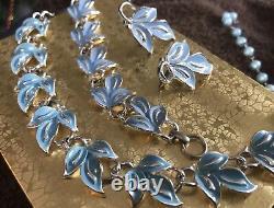Lovely Coro Necklace Earrings & Bracelet Robin's Egg Blue Enamel Silver tone #1