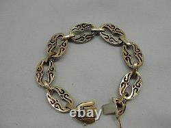 Lovely Estate Blue Enamel Uno A Erre 18K Hand Carved Vide Link Bracelet- 43.6 gr
